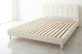ベッド クイーン【ホワイト】【フレームのみ】 モダンデザイン・高級レザー・大型ベッド【Strom】シュトローム【代引不可】