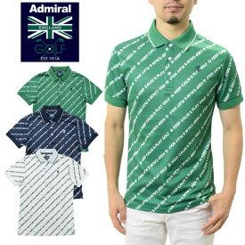 アドミラルゴルフ ポロシャツ バイアスメッセージ 半袖ポロシャツ (ADMIRAL GOLF ADMA938 メンズ アドミラル ゴルフ AdmiralGOLF ユニオンジャック 吸水速乾 UV)