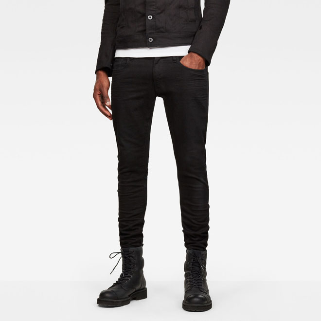 ジースター ロウ 3301スーパースリム ブラックデニム (G-STAR RAW メンズ D01159-8970-082 3301 DECONSTRUCTED SUPER SLIM JEANS 裾直し無料 ジーンズ ブラック スキニー 黒)