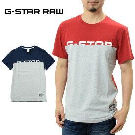 ジースター ロウ Tシャツ 切替えロゴ 半袖 (G-STAR RAW D12990-336 メンズ Graphic 13 T-Shirt 丸首 ブルー レッド)