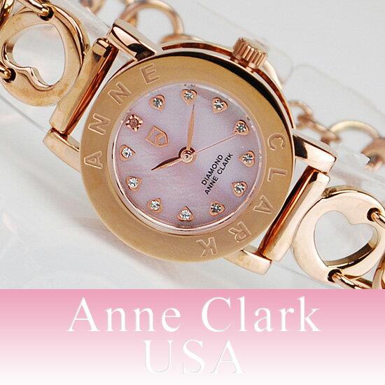 腕時計 レディース 送料無料 AnneClark/ アンクラーク ピンクゴールド レディースウォッチ ベルト調整不要 天然ダイヤ&ジルコニア AN-1021-17PG [かわいい] [ギフト・プレゼント] 女性らしさ] [円] [おしゃれ] [本命][カジュアル 腕時計] お買いものマラソン ダイヤモンド