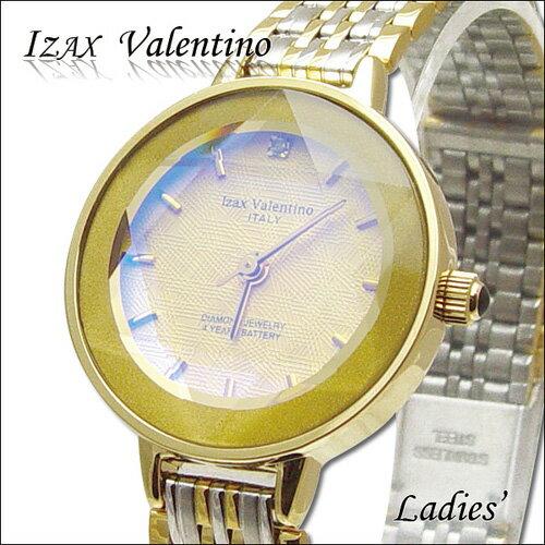 腕時計 レディース 【アイザック バレンチノ Izax Valentino】レディース腕時計【天然ダイヤ】IVL-200-1 ゴールド[ビジネス][カジュアル]【正規品】[デザインウォッチ][女性らしさ]【クール】【スタイリッシュ】[円][ ブランド]