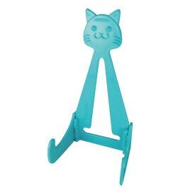 猫のお皿たて ブルーらくやきマーカー用 195mmのお皿にピッタリ/ タブレットスタンドにも/ ねこグッズ