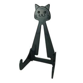 猫のお皿たて ブラックらくやきマーカー用 195mmのお皿にピッタリ/ タブレットスタンドにも/ ねこグッズ