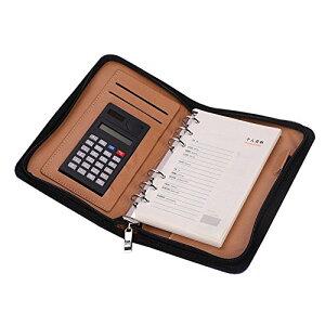 システム手帳 a5/a6メモ帳 ルーズリーフ バインダーノート 6穴 電卓搭載 ペンホルダー 名刺・カード入れケース付き 多機能ノートブッ