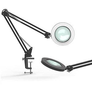 YOUKOYI A17 LEDルーペデスクライト クリップ式 3倍の倍率拡大鏡を搭載 拡大鏡テーブルランプ 折りたたみ式 卓上ライト レンズ径10.5