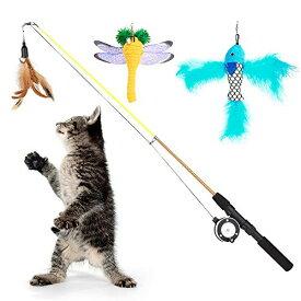 猫じゃらし Pawaboo じゃれ猫 フェザーワンド スピニングリール付き 伸縮 釣竿型おもちゃ 手動式プーリー 猫じゃらし 釣りロッド 猫