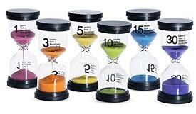 砂時計 サンドタイマー カラフルな砂時計 インテリアタイマー ゲーム 料理 お風呂 砂タイマー 6個セット (1分/3分/5分/10分/15分/30