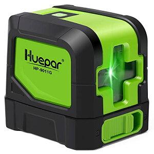 Huepar 2ライン グリーン レーザー墨出し器 クロスラインレーザー 緑色 レーザー 自動補正 傾斜モード 高輝度 ライン出射角110° ミニ