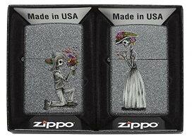 ZIPPO(ジッポ) オイルライター USモデル ペアジッポ スカル 花束プロポーズ 28987