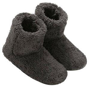 Mianshe 北欧 ルームシューズ もこもこ ルームブーツ 暖かい ボアスリッパ 男女兼用 (カ?ボンブラック Mサイズ 24.5cmくらいまで)