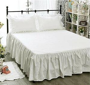 ノーブランド品 無地 オフホワイト 綿100%ベッドカバー/ベッドスカート シングル