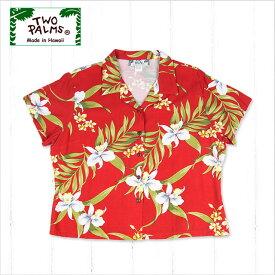 【レディースアロハシャツ】TWO PALMS L401R-Pali-Orchid-RE-r〔シャツ 柄シャツ 総柄 ハワイ 半袖 夏 ALOHA 沖縄 お土産 かりゆしウェアー クールビズ 大きいサイズ〕