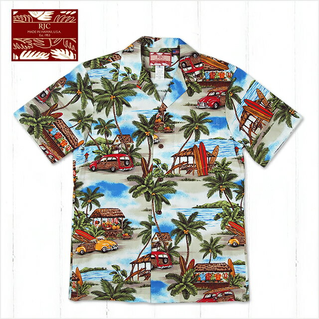 【メンズアロハシャツ】RJC 102C-605-BL-C〔シャツ 柄シャツ 総柄 ハワイ 半袖 夏 ALOHA 沖縄 お土産 かりゆしウェアー クールビズ 大きいサイズ〕