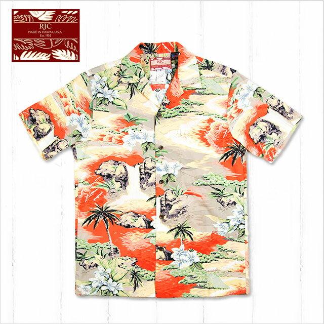 【メンズアロハシャツ】RJC 102c-739-OR-c〔シャツ 柄シャツ 総柄 ハワイ 半袖 夏 ALOHA 沖縄 お土産 かりゆしウェアー クールビズ 大きいサイズ〕