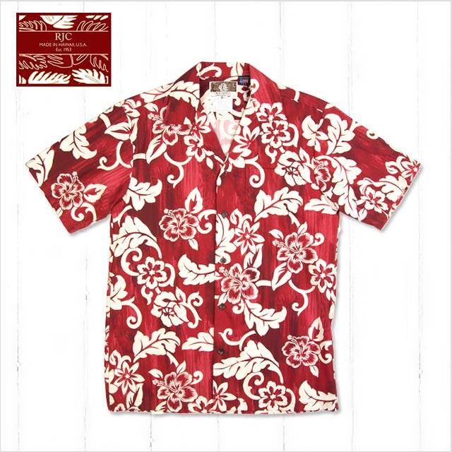 【メンズアロハシャツ】RJC 802-532 Red-pc〔シャツ 柄シャツ 総柄 ハワイ 半袖 夏 ALOHA 沖縄 お土産 かりゆしウェアー クールビズ 大きいサイズ〕
