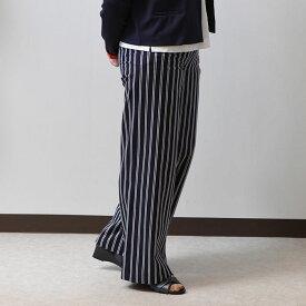 [#]ダブルストライプワイドパンツ ワイド 幅広 レディース ストライプ パンツ ロング丈 春パンツ 夏パンツ 柄物 ボトムス 綿 コットン ストレッチ 履きやすい ゆったり 上品 上質 エレガント ミセス 40代 50代 60代 70代 シニア おしゃれ 旅行 ネイビー 紺 9号 [ge-m3p]#'