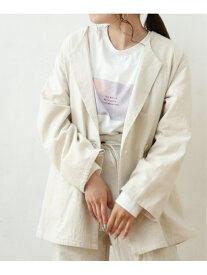 【SALE/50%OFF】綿麻ノーカラージャケット Ray Cassin レイカズン コート/ジャケット テーラードジャケット ホワイト カーキ グレー【RBA_E】[Rakuten Fashion]