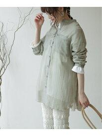 【WEB限定】バンドカラーシアーシャツ frames RAY CASSIN レイカズン シャツ/ブラウス 長袖シャツ グリーン ピンク ベージュ ブラウン[Rakuten Fashion]