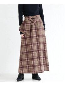[Rakuten Fashion]ウールチェックセミフレアスカート mjuka レイカズン スカート ロングスカート ブラウン ブラック【送料無料】