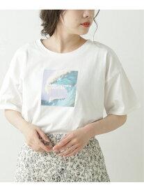【SALE/10%OFF】アート転写ホワイトTシャツ Ray Cassin レイカズン カットソー Tシャツ ブルー グリーン レッド【RBA_E】[Rakuten Fashion]