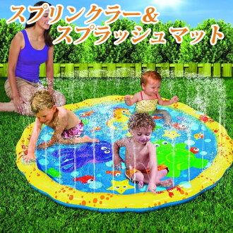 淋灌裝置&supurashumatto小孩灌溉用水遊戲遊泳池[并行的進口商品][海外訂購的物品]Banzai 54in-Diameter Sprinkle and Splash Play Mat到貨付款不可商品