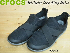174942f32f4349 ♪CROCS Women s Swiftwater Cross-Strap Static▽BLACK ブラック 204887-001▽クロックス