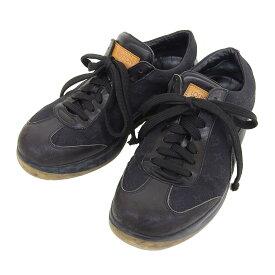 【大幅値下げ!】 ルイヴィトン LOUIS VUITTON モノグラム ミニ スニーカー 靴 黒 5 【中古】