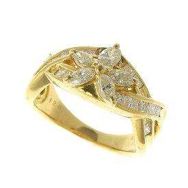 【大幅値下げ!】 超美品 フラワー リング 指輪 K18 ダイヤモンド 1.20ct 11.5号 【中古】 ノーブランド No brand