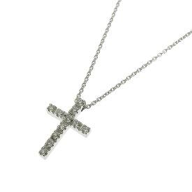 【本物保証】 スタージュエリー STAR JEWELRY クロス ネックレス K18WG メレダイヤモンド 0.11ct 【中古】