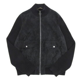 【本物保証】 ルイヴィトン LOUIS VUITTON ジャケット アウター ラムレザー コットン 黒 XL 【中古】