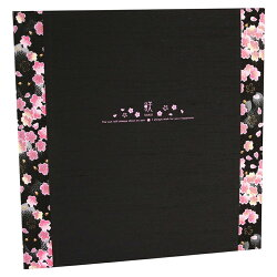 アルバム写真台紙七五三成人式和装和装用台紙黒×紫2面(角×角)