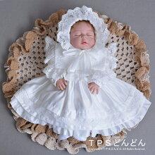 新生児セレモニードレスベビードレス女の子レースドレス新生児ワンピースベビー服女の子フォーマルワンピース長袖ロマンティックレースオーガニックコットンアモローサマンマ2点セットお帽子付き御出産祝い