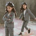 【在庫処分】スーツ 女の子 子供服 セットアップ 女の子 フォーマルスーツ チェック柄 入学式 子供スーツ 春服 2点セ…
