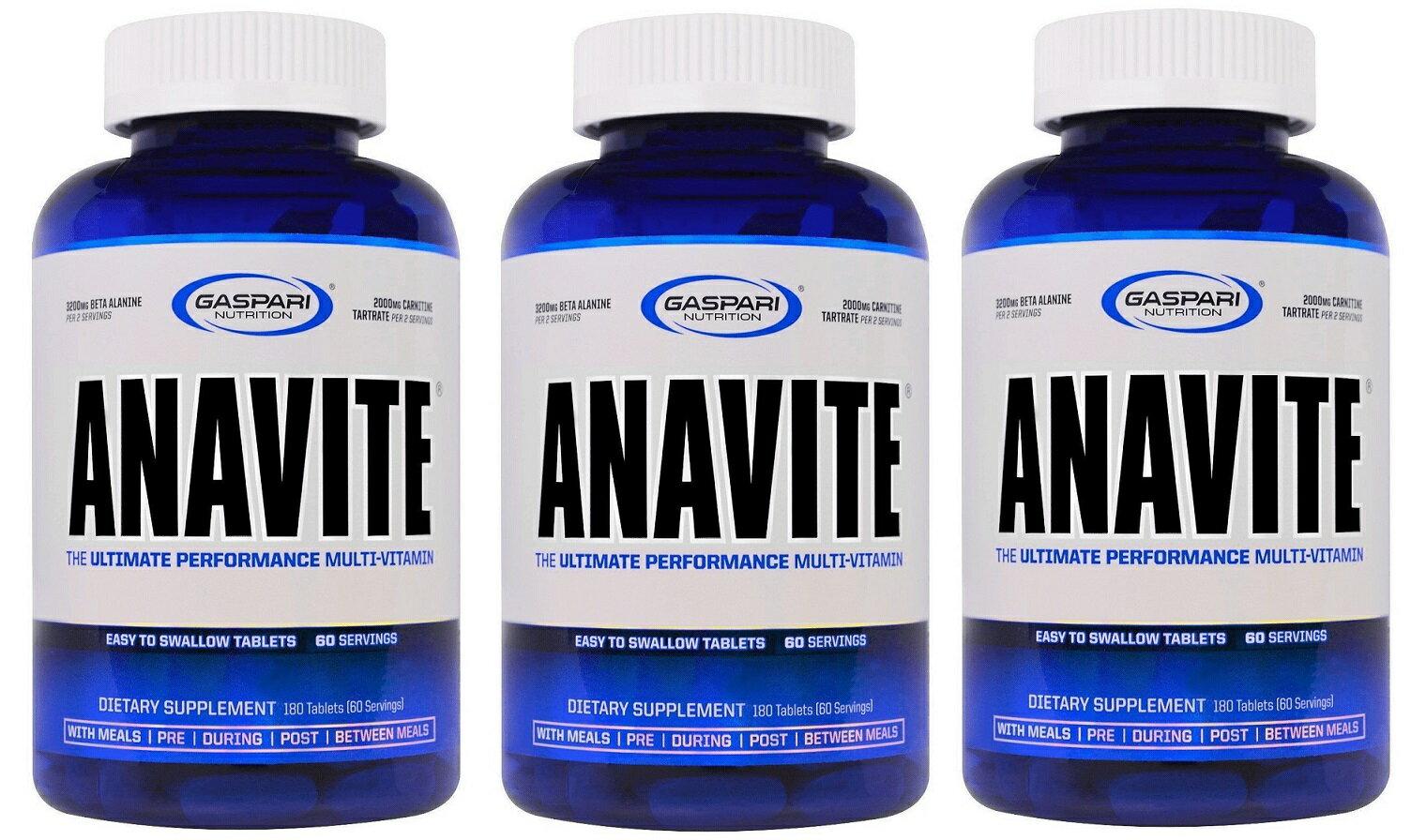 3個セット ガスパリ アナバイト マルチビタミン & ミネラル 180 タブレット - Gaspari Nutrition Anavite 180 tabs -