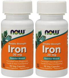 [2個セット] ビスグリシン酸鉄 36mg 90粒 NOW Foods (ナウフーズ) アメリカ製 高含有 鉄分 ビスグリシン フェロケル アイロン