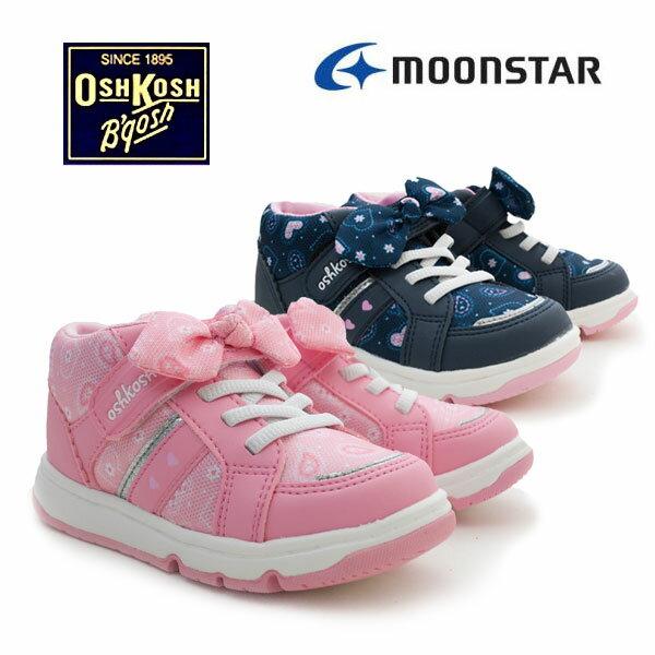 子供靴 キッズシューズ オシュコシュ OSK C433 1足なら定形外メール便(送料400円)OK ムーンスター ピンク ネイビー リボン マジックテープ式 AN/7F