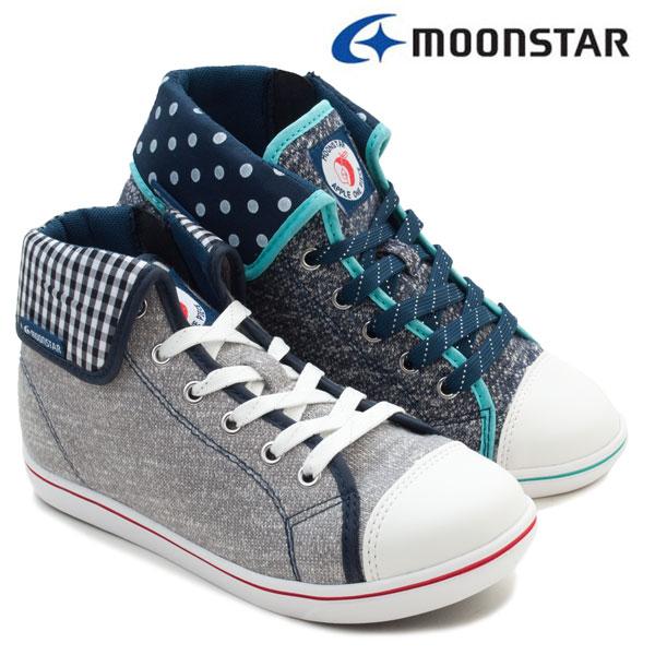 【ムーンスター】SG J462 ジュニアハイカットシューズ 子供靴 ムーンスター スニーカー アップルワンピース シュガー ファスナー チェック柄 ドット Moonstar 女の子 通学靴 ネイビー グレイ /MR /RU