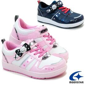 ジュニアスニーカー SG C476 ムーンスター 子供靴 カジュアルシューズ マジックテープ式 制服アイドル風 女の子 ピンク ネイビー(ネービー紺色) ゆるふわガーリー /ST