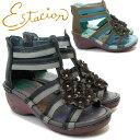エスタシオンNK402 レディース本革サンダル 婦人靴 コンフォートシューズ ブラック/C(黒) グリーン/C(緑) 花飾り ウェッジソー…