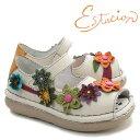 エスタシオン 靴 レディースサンダル TGE286 フラワー 本革 前あき コンフォートシューズ アイボリー(ホワイト白系) …
