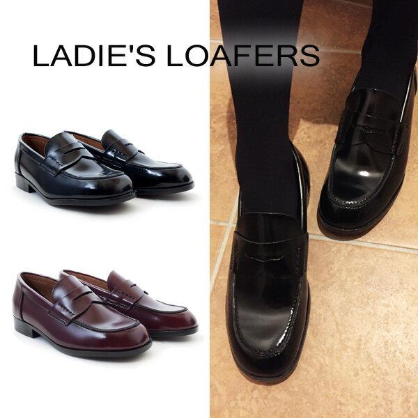 [LADIES LOAFERS] ローファー スクール レディース [21.5cm~26.0cm] ブラック ブラウン 通学 学校 入学 ST /YN