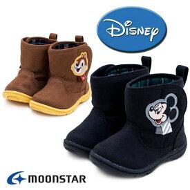 ムーンスター ディズニー ベビーブーツ DN B1238 ミッキーマウス チップ&デール Moonstar 抗菌防臭 軽量設計 面ファスナー 防寒 かわいい 子供靴 キャメル ブラック /AN