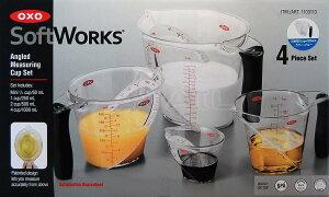 OXO オクソー アングルドメジャーカップ 4個(大1000ml・中500ml・小250ml・ミニ60ml) メジャーカップ 計量カップ キッチンツール 計量器具 調理 製菓道具