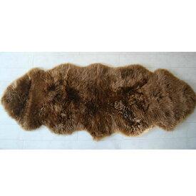 長毛ムートン 2匹 ムートンラグ 180×65cm ブラウン windward シープスキン ムートン フリース ラグ カーペット ソファーカバー シートカバー シープスキン 羊毛