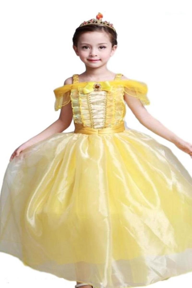 (SCGEHA) 美女と野獣 ロング ドレス キッズ ティアラ ステッキ セット ベル プリンセス コスプレ ハロウィン 仮装 衣装