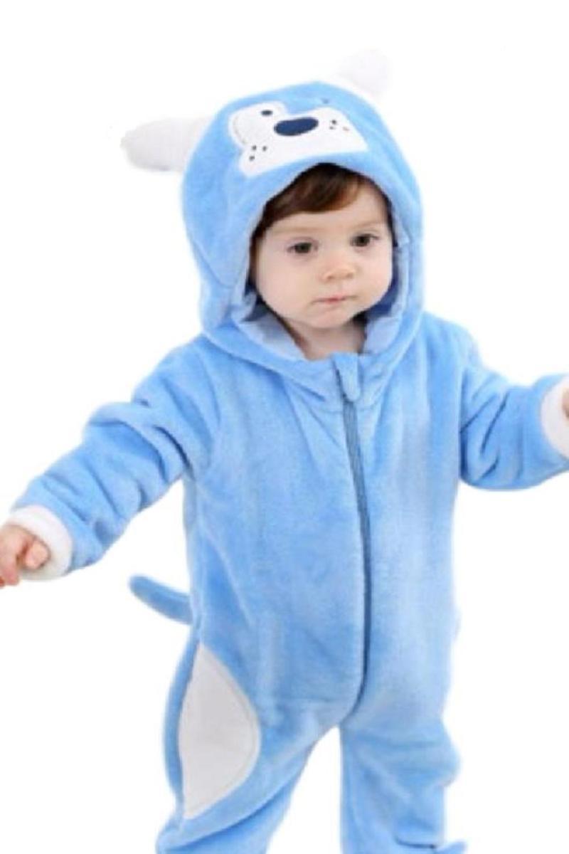 赤ちゃん ロンパース 犬 動物 着ぐるみ カバーオール オールインワン ベビー 防寒 戌年 耳 しっぽ付き ブルー