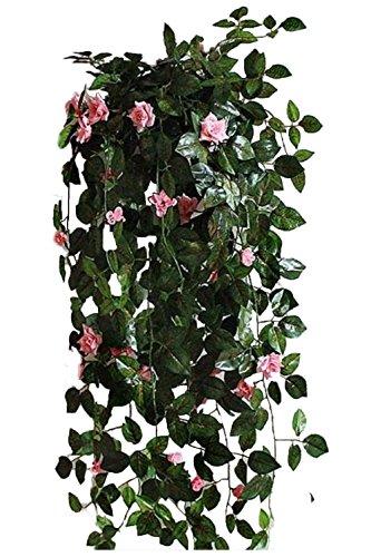 【SCGEHA】フェイクグリーン インテリア イミテーション 人工 観葉植物 壁掛け 癒し 造花 4カラー (ピンク/2本)