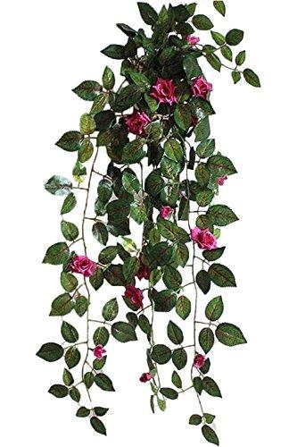 【SCGEHA】フェイクグリーン インテリア イミテーション 人工 観葉植物 壁掛け 癒し 造花 4カラー (パープル/2本)