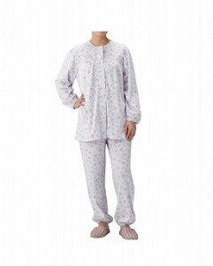 介護パジャマ 婦人用  S (BK1801 フラワーパープル)【丸十服装】 U0301